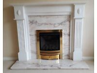 Wooden fire surround, marble back and plinth