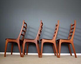 Danish Kai Kristiansen Teak Dining Chairs Mid Century Vintage 60s