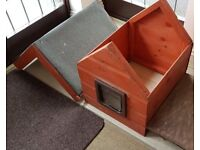 Cat House / Kennel - quality wooden with catflap, great condition, barely used