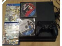 Sony Playstation 4 (PS4) + PSN account + 9 games Grand Theft Auto 5, Fifa, Star Wars, Driveclub