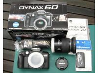 Minolta Dynax 60 camera kit complete boxed, body, lens, strap, & wireless remote.