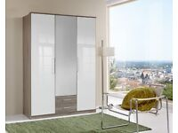 **7-DAY MONEY BACK GUARANTEE!** Gamma High Gloss Wardrobe in 2 Door 3 Door or 4 Door- FAST DELIVERY!