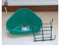 Corner litter tray and hay rack for rabbits/guinea pigs