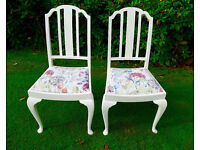 A pair of Voyage covered chairs in Hedgerow fabric, completely reupholstered