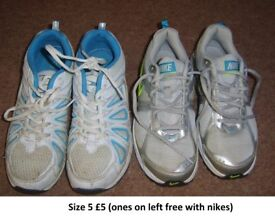 trainers size 5 cranes on left are free with the nikes £4 the lot