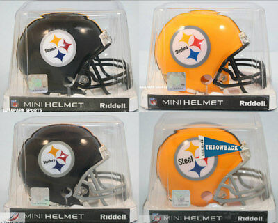 (Lot of 4 PITTSBURGH STEELERS Riddell Mini Helmets (Current & Throwbacks))