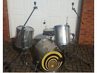 Custom Drum Kit With Aluminium Shells !!! Monster Deep Bass Drum And Toms