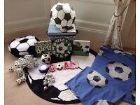 Boys Football Themed Bedroom Set Accessories Rug Bedding Storage Lights Wall Art Clock