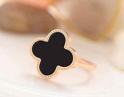 Super Fashion Rose Gold GP Black Flower *Four-leaf Lucky Clover* Adjustable Ring