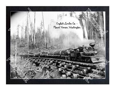 Historic English Lumber Co. - Mount Vernon, Washington Train Postcard