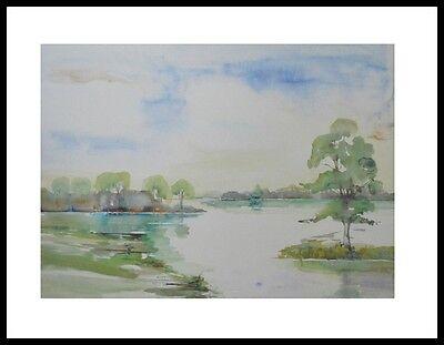 H. Heymans Flusslandschaft II Poster Bild Kunstdruck & Alurahmen schwarz 60x80cm