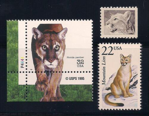 MOUNTAIN LION, PANTHER, COUGAR, PUMA - SET OF 3 U.S. STAMPS - MINT CONDITION