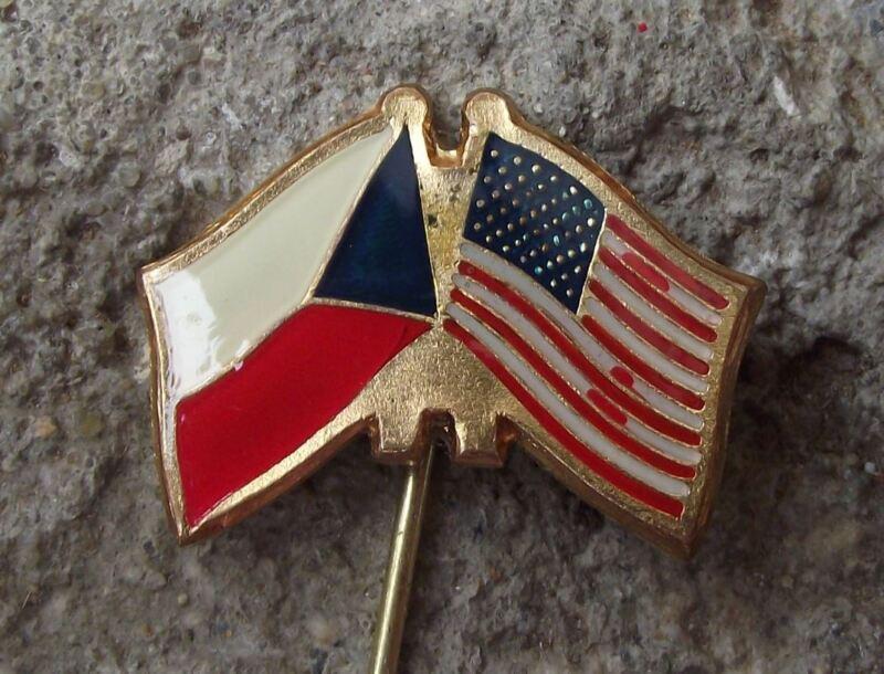 Vintage USA Czechoslovakian Flag American Stars Stripes Friendship Pin Badge