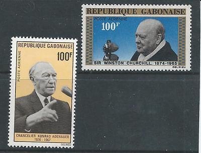 Gabon - 1966 & 1968 100 franc Airmail Issues - Un-mounted mint pair