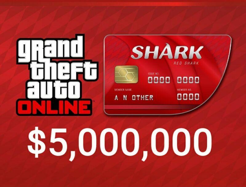 GTA V SHARK CARD Xbox One Grand Theft Auto Online $5,000,000 (READ DESCRIPTION)