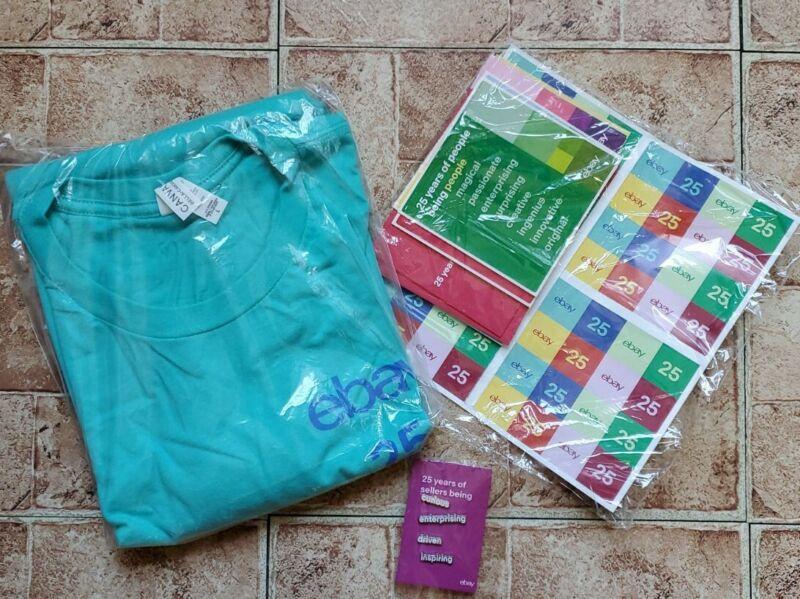 eBay 25th Anniversary Swag Sellerbration Gift Lg T-Shirt Pins Stickers Cards NIP