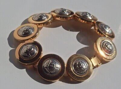 GIANNI VERSACE Vintage Medusa Head Gold & Silver Color Metal Chain Bracelet
