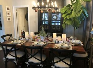 Harvest Trestle Table with 7 Restoration Hardware Dining Chairs