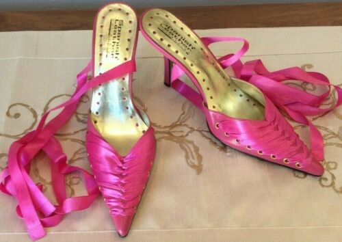 Sergio Zelcer Heels Shoes Size 8 Pink Satin Ribbon Lace Up Leather Vintage