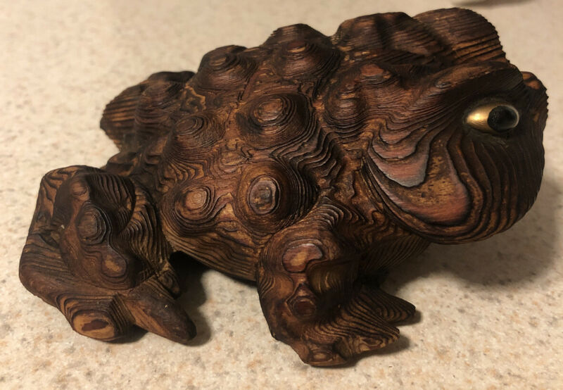 Rare Japanese Wooden Frog With Japan Markings