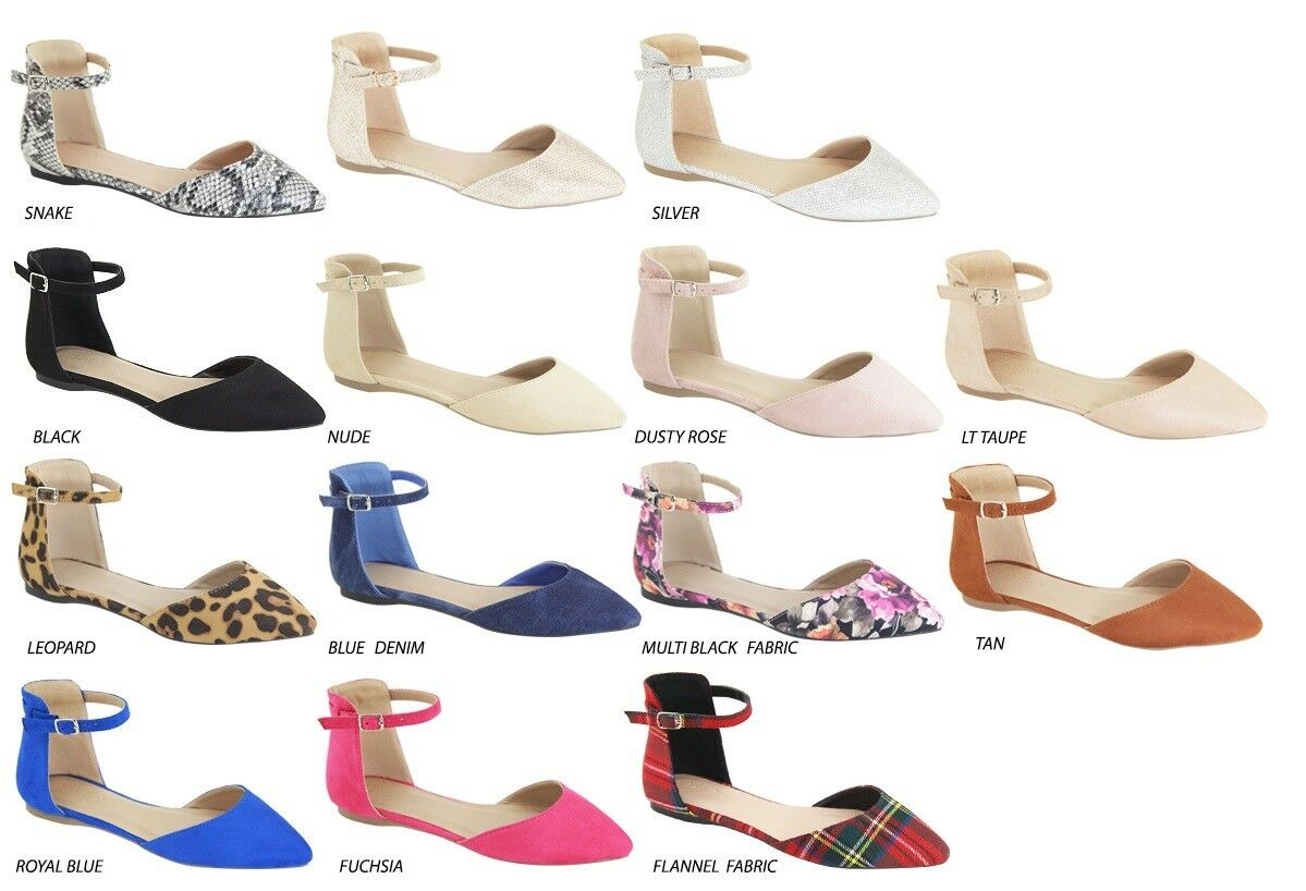 Women Pointy Closed Toe Ankle Strap Mary Jane dOrsay Ballet Flat Shoes Ballerina