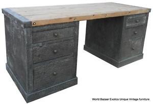 66-Wide-Solid-old-wood-desk-hand-hammered-zinc-great-details-spectacular
