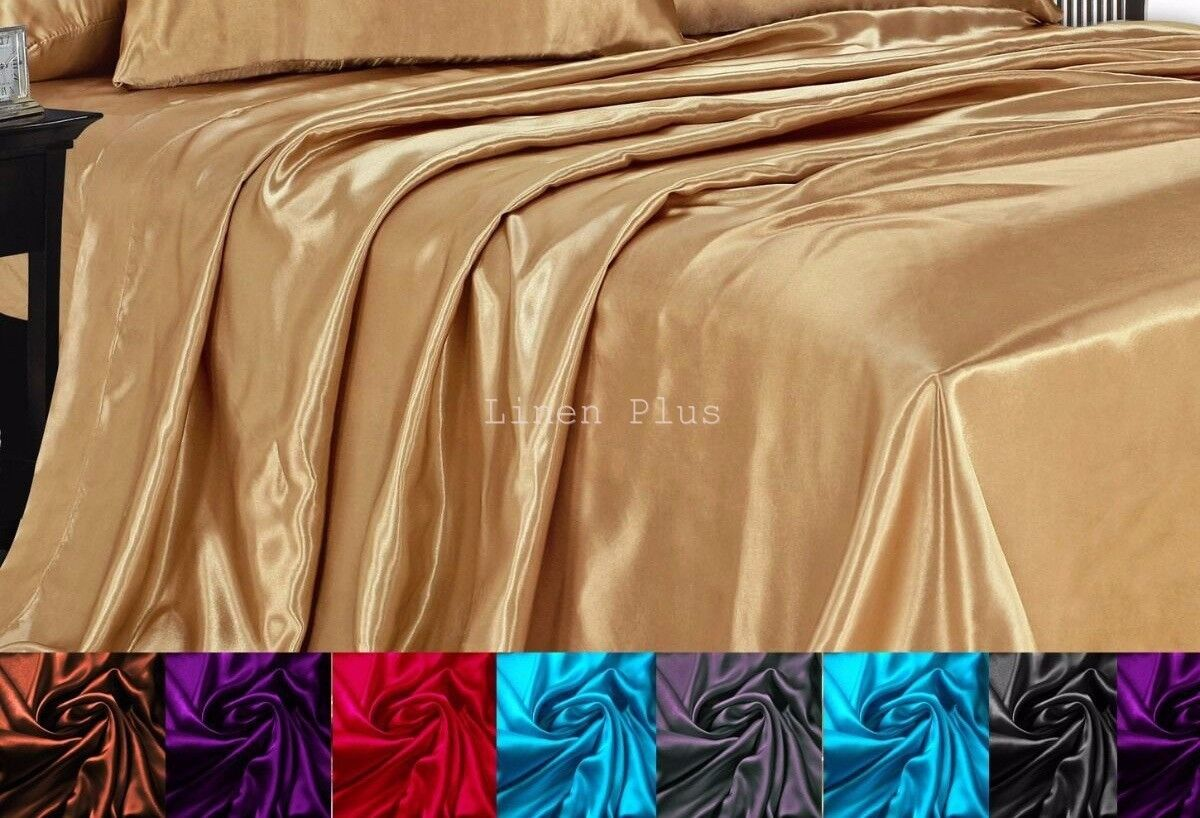 LinenPlus Collection ONE Satin Flat Bed Sheet All Colors Kin