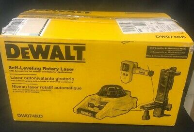 Dewalt Dw074kd Rotary Laser Level Kit Detector Self-leveling Horizontal Vertical