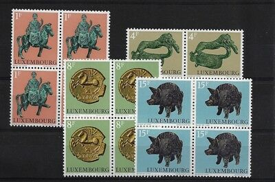LUXEMBOURG SG902/5, 1973 ARCHAEOLOGICAL RELICS MNH SET IN BLOCKS OF FOUR