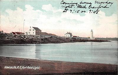 FORT POINT LIGHT LIGHTHOUSE NEWCASTLE NEW HAMPSHIRE POSTCARD 1907