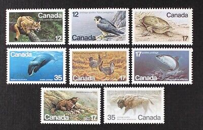CANADA 1977-1981 Wild Animals, Whale, Falcon, Bison etc set of 8 stamps Mint NH
