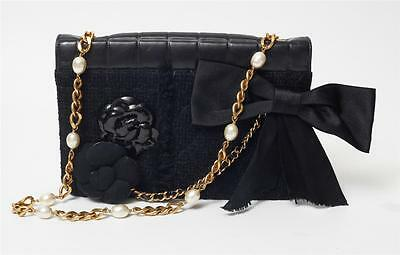Chanel Bow (CHANEL Black MIXED ICONS 2.55 Flap RARE *VERY LIMITED* CAMELLIA Bow Quilted Bag)