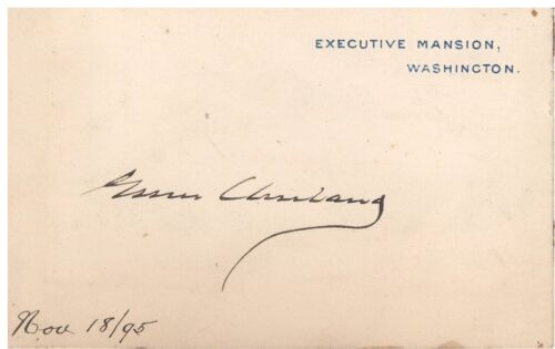 """4"""" x 2"""" Executive Mansion Postcard Signed by Grover Cleveland w/ COA"""