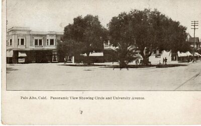 Early PALO ALTO CA STANFORD UNIVERSITY Stores & Circle Panoramic Postcard (Stanford Store Palo Alto)