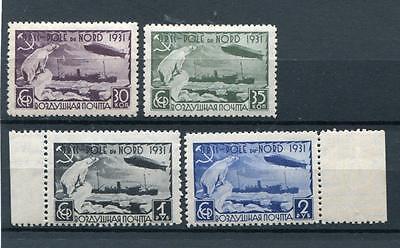 RUSSIA YR 1931,SC C30-33,MI 402A-05A,MNH,ZEPPELIN,POLAR BEAR,NORTH POLE MARGINS