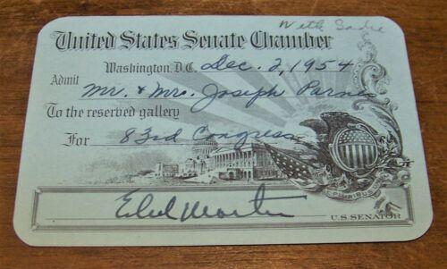1954 UNITED STATES SENATE CHAMBER GUEST PASS SIGNED PA SENATOR EDWARD MARTIN