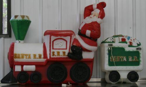 Empire Blow Mold S.R.R. Santa R.R.Train W/ Caboose Lighted Christmas Yard Decor
