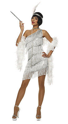 1920S ROARING 20'S ADULT WOMENS SILVER DAZZLING FLAPPER GATSBY COSTUME DRESS - Roaring 20 Dresses