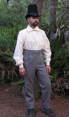 Gray Wool Fall Front Trousers - War of 1812, Napoleonic, Tex Rev - Size 36