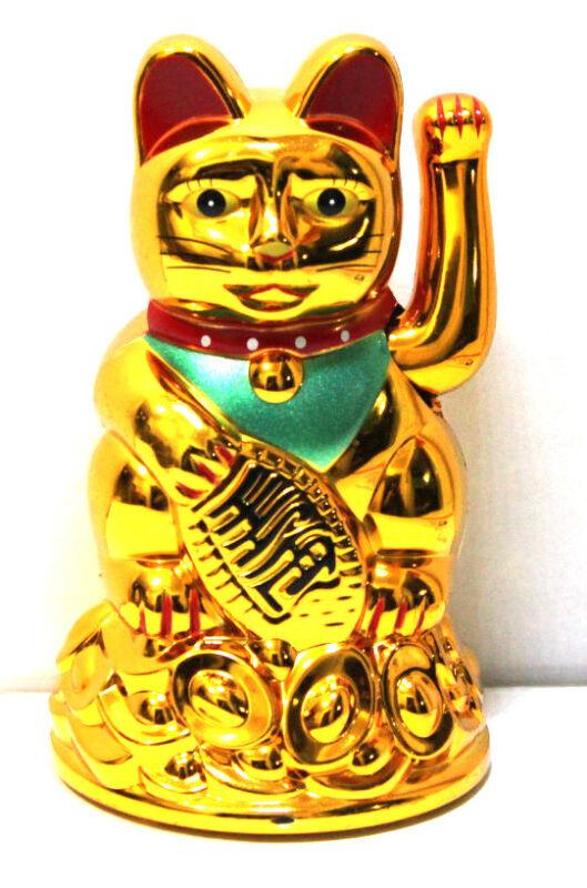 """Feng Shui GOLD BECKONING CAT Wealth Lucky Waving Kitty Maneki Neko 4"""" Tall"""