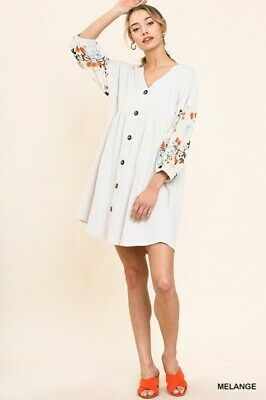 UMGEE Floral Print Sleeve Faux Button Knit Babydoll Dress USA Boutique Floral Print Knit Dress
