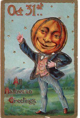 GOTTSCHALK DREYFUSS & DAVIS HALLOWEEN POSTCARD SERIES 2040 OCT. 31ST.. GLITTERED](Oct 31st Halloween)