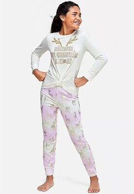 NEW Justice Girls Christmas Unicorn Pajama Set Christmas Holiday PJ size 14-16](Girls Size 14 Christmas Pajamas)