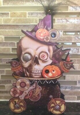 Bethany Lowe Halloween Steampunk Skull On Wheels Container--Retired