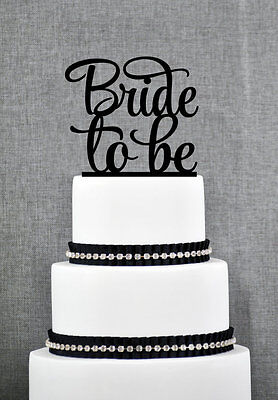 Bride Cake Topper - Bride To Be Bridal Shower Wedding Engagement Black Cake Topper Decoration Sign