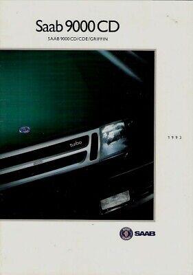 Saab 9000 CD 1992-93 UK Market Brochure CD CDE Griffin 2.0i 2.0 Eco 2.3i 2.3T for sale  United Kingdom