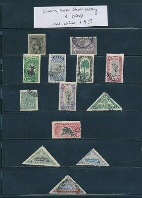 OWN PART OF LIBERIA POSTAL STAMP HISTORY. 13 ISSUES CAT VALUE $4.55