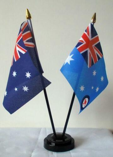 AUSTRALIAN TABLE FLAG SET Australia & ROYAL AIR FORCE SYDNEY CANBERRA FLAGS RAAF