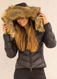 BNWT Black Fur Hooded Coat Size 8