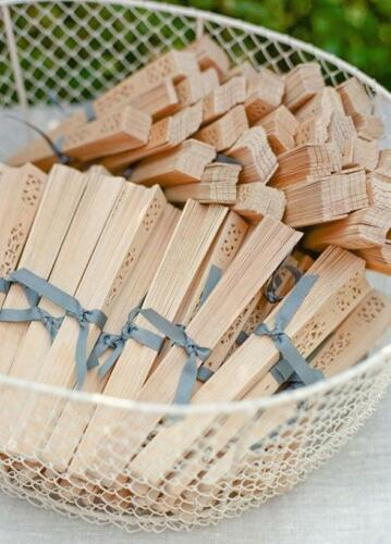 60pc Natural Wood Hand Chinese Wooden Fans Vintage  Wedding Favors  BULK